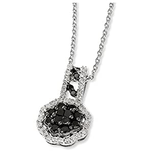 Sterling Silver Black & White Diamond Pendant Necklace