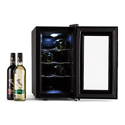 Reserva Piccola Weinkühlschrank freistehend, Getränkekühlschrank mit Glastür, Minibar mit LED Beleuchtung und Touch-Bedienung (25 Liter /8 (0,75L) Flaschen Kühlschrank, 8- 18 °C, 155kWh/Jahr) schwarz