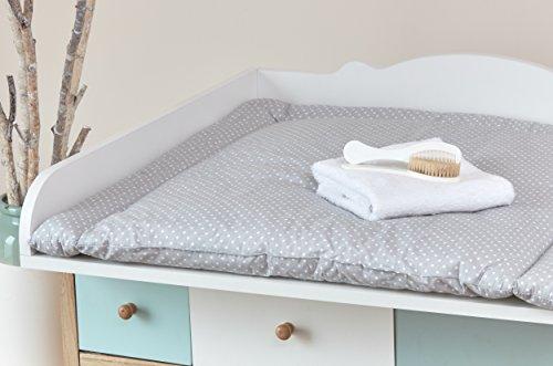 kraftkids wickelauflage wei e punkte auf grau breit 78 x tief 78 cm z b f r malm oder hemnes. Black Bedroom Furniture Sets. Home Design Ideas