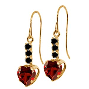 2.00 Ct Heart Shape Red Garnet Black Diamond 14K Yellow Gold Earrings