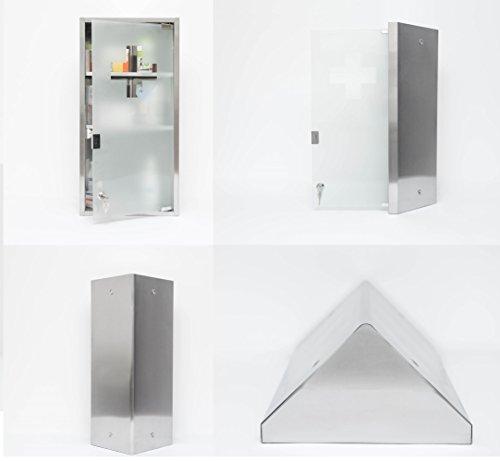DESIGN-ECKSCHRANK-Medizinschrank-Arzneischrank-Edelstahl-Glas-XXL-60cm-ECKE