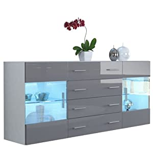 sideboard chest of drawers bari v2 in white matt grey. Black Bedroom Furniture Sets. Home Design Ideas