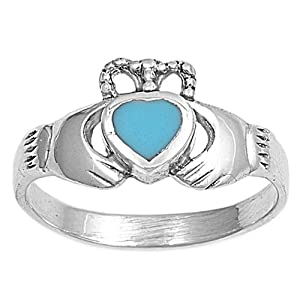 STERLING SILVER RING WITH STONE - TURQUOISE CLADDAGH - Size 6