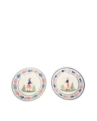 Pair of Quimper 9″ Plates, White/Multi