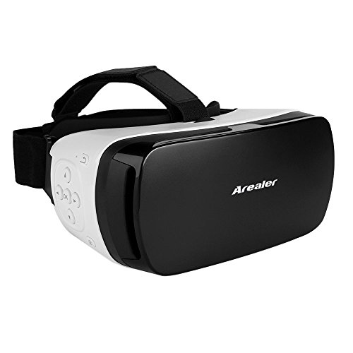 Arealer® VR SPACE Virtual Reality Glasses VR Headset 3D Movie VR Games Supports Bluetooth 3.0 Self-timer Siri Universal for Android iOS Smart Phones within 3.5 to 5.5 Inches