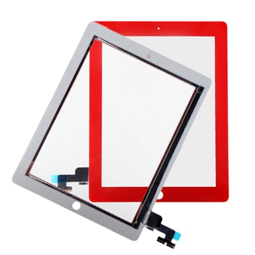Hde Ipad 2 Digitizer Touch Screen Replacement Parts W/ 7 Piece Tool Kit And Adhesive Tape (Red)