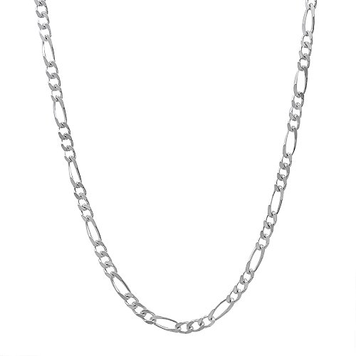 """Men'S 2.3Mm Real 925 Sterling Silver Figaro Link Chain Necklace, 24"""""""