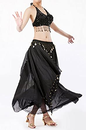 Belly Dance Performance dancing Costume Set , Halter Bra Top and Skirt