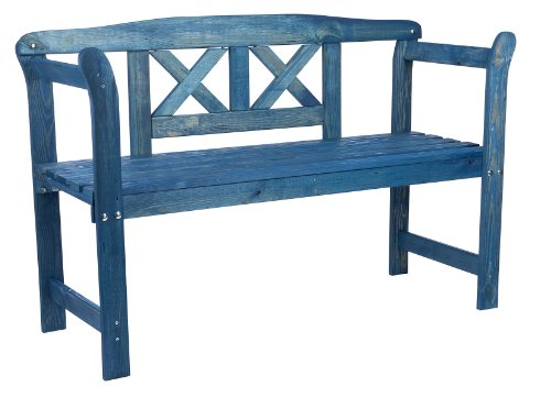 Wooden Garden Bench with a crossed rest, weatherproof glazed in friese blue color