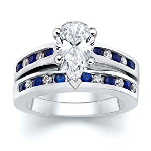3.51 ct Pear Diamond with Round Blue Sapphire Ring Set
