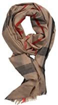 LibbySue-Modern, Classic Plaid Scarf in Camel Tan