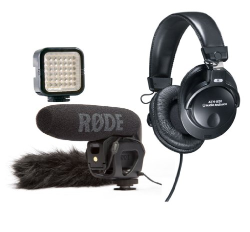 Rode Videomic Pro Compact Directional On-Camera Shotgun Microphone With Deadcat Vmp Furry Wind Cover, Audio Technica Athm30 Professional Monitor Headphones And Polaroid 36 Led Light Bar For Camcorders & Dslrs