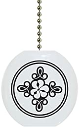 Carolina Hardware and Decor 1940F Black & White Scroll Flower Floral Country Solid Ceramic Fan Pull