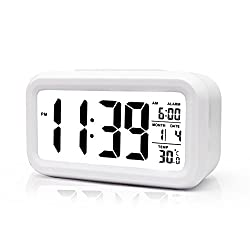 BOYON Alarm Clock, Smart Desk,Wake Up,Travel Clock,Light Sensor,Digital,Battery Operated,Display Time, Date, Temperature,5.3 Best for Kids, Students