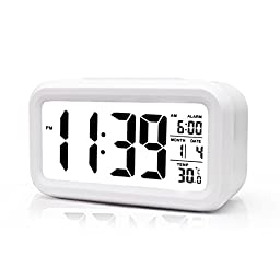 BOYON Alarm Clock, Smart Desk,Wake Up,Travel Clock,Light Sensor,Digital,Battery Operated,Display Time, Date, Temperature,5.3\