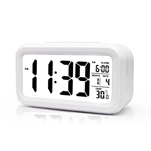 boyon alarm clock smart desk wake up travel clock light sensor digital batte. Black Bedroom Furniture Sets. Home Design Ideas