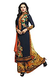 Ishin Faux Georgette Blue & Multicolor Embroiderd Designer Salwar Suit.