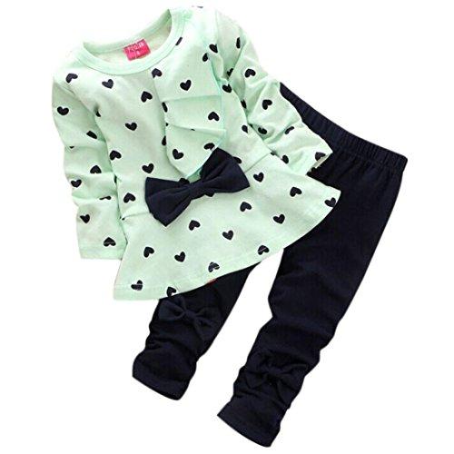 [XILALU New Baby Sets Heart-shaped Print Bow Cute 2PCS Kids Set T shirt + Pants (0-6M, Green)] (Baby Designer Clothes)