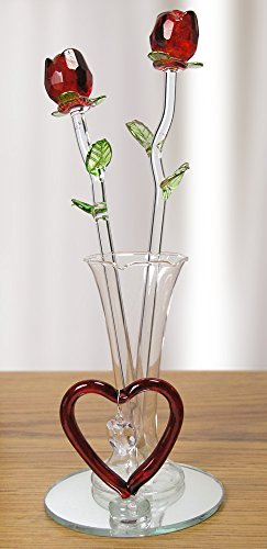 Red Roses in Glass Vase with Heart and Hanging Crystal Heart Shaped Charm - Crystal Roses That Will Last Forever - Gift Boxed - I Love You - Anniversary - Valentine's Day - Mom - Wife - Girlfriend