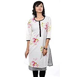 Saamarth Impex Floral Printed White Color Cotton U Neck Princess Cut Kurti SI-2079