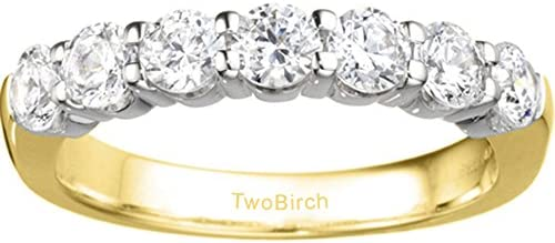 Silver Traditional Double Shared Prong Wedding Band with Diamonds 05 ct twt