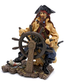 PIRATE HELMSMAN AQUARIUM ORNAMENT Decoration