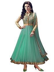 Clickedia Women's Net Anarkali Dress Material (Sea Green Free Size)
