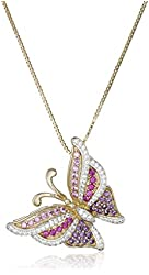 """18k Yellow Gold over Sterling Silver Tonal Amethyst Butterfly Pendant Necklace, 18"""""""