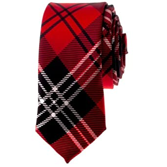 "TopTie Unisex New Fashion Black and Red Plaid Skinny 2"" inch Necktie"