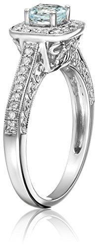 14k White Gold Aquamarine and Diamond Ring (1/4 cttw, H-I Color, I2-I3 Clarity), Size 7