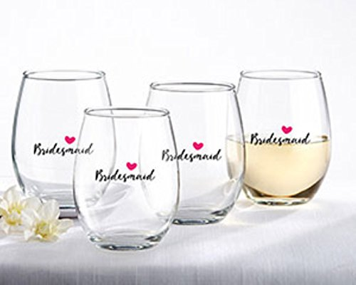 Kate Aspen Bridesmaids Pink Heart 15 Oz. Stemless Wine Glass (Set of 4)