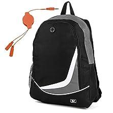 buy Sumaclife Nylon Backpack For Hp Elitebook 850 G2 15.6 Inch With Orange Headphone Splitter Cable (Black/Grey)