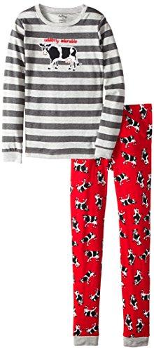 Hatley Big Boys' Pajama Set Cows On Red Udderly Adorable, Gray, 12