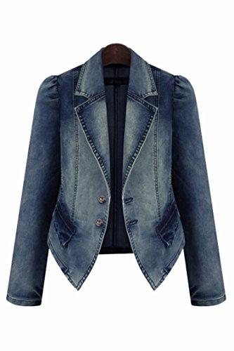 Pink-Queen-Womens-Plus-Size-Denim-Jacket-Button-Suit-Collar-Coat-Outwear-XL-5XL