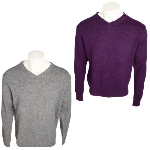 Harbour Collection Men's 2 Pack Purple & Grey Marl 100% Lambswool Jumpers in Size XXXLarge