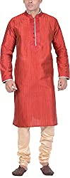 Kisah Men's Cotton Silk Kurta (KA-S-037K-40_Maroon_40)