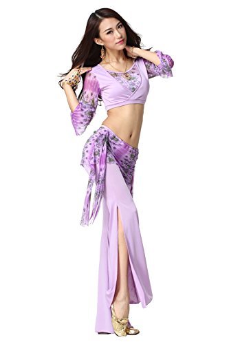 Dancewear Danza del ventre Custome lunga manica V Neck Top & Split Wide Leg Pantaloni purple