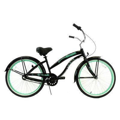 Women's 3-Speed Aluminum Beach Cruiser Frame Color: Black with Mint Green Wheels