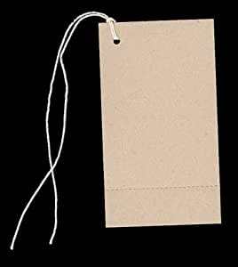 "100 Large Blank PERFORATED KRAFT Hang Tags (2-1/8""x3-5/8"") & 100 Cut Strings for Crafts & Gifts. Personalize & Price your merchandise."