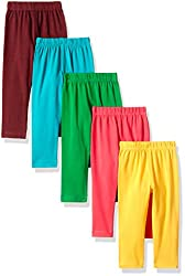 Sinimini Trendy 3/4Th Leggings Girls Capri (Pack Of 5) (SMTC2005_BROWN_TBLUE_TP_GY_GREEN_8-9y)