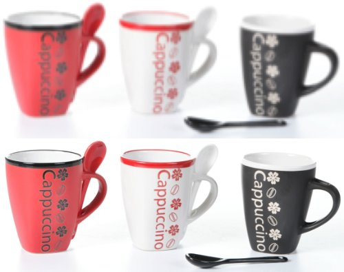 Coffee Mugs With Spoons Coffee Talk Set Of 6