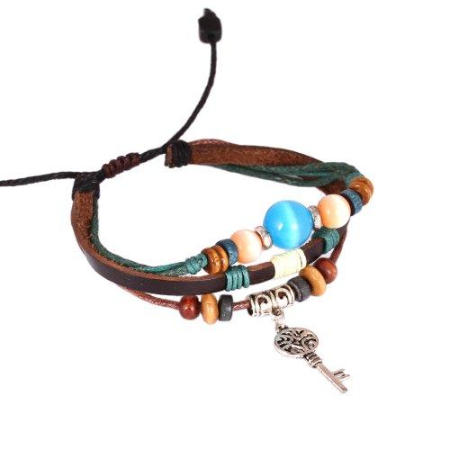 Fashion Plaza Women's Adjustable Vintage leather Bracelet Ocean Blue Orange Stone Key Charm Triple Strands L133