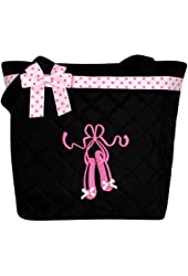 Girl's Quilted Dance Ballet Slippers Tote Bag w/ Pink Polka Dot Bow (Black)