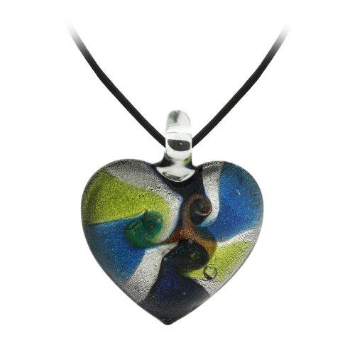 Multi-Colored Glass Heart Pendant Necklace on Black Cord, 18
