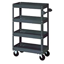 "Edsal ST9000 Industrial Gray 18 Gauge Steel 4 Tier Stock Truck, 800lbs Capacity, 36"" Width x 60"" Height x 24"" Depth"