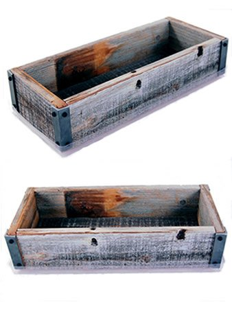 Reclaimed Barnwood Planter Box - Weathered Rustic Flower, Herb & House Plant Garden Barn Wood Planter With Drip Tray Image
