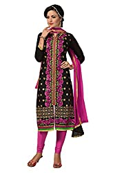 Swagpod Black Chanderi Embroidered Unstitched Dress Material SWAG00259