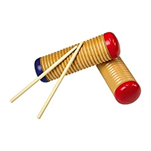 2 x Wooden Guiro Maracas Scrapers Musical Percussion Instrument Toy