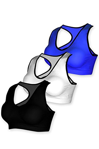 Basico Women's Strappy Caged Bralette , Sports Bra 2 Pack ,3 Pack with Free Loose Tank top (Large / X- Large, BW 3002 - Black /White / Blue)