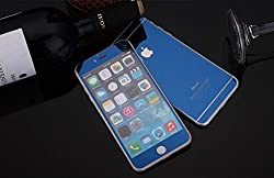 Electroplated Mirror Front + Back Tempered Glass Screen Protector For Apple iPhone 6, 6s - Blue